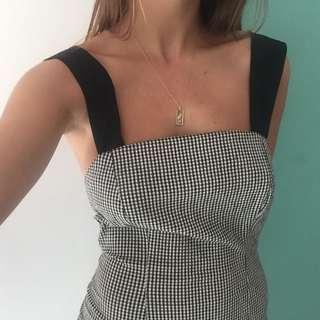 Gingham dress with tie up straps