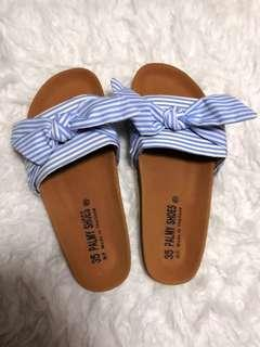 35 Palmy Shoes N. P. Made in Thailand - Sandals with a Light Blue Ribbon