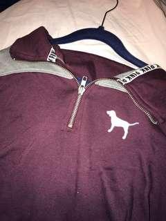 PINK maroon half zip sweater
