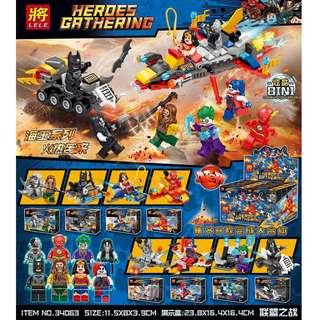 LELE™ 34063 DC Super Heroes 8in1 Minifigures Vehicle Combine Set