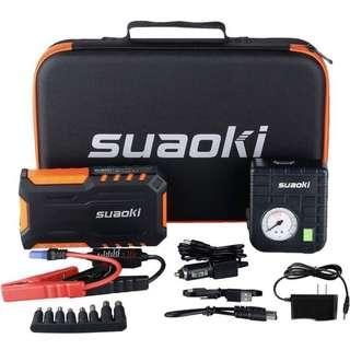 SUAOKI 🔥🔥🔥 4.1 out of 5 stars  78 Reviews Suaoki 600A Peak Portable Car Jump Starter/Jumper Pack 18000mAh with Air Compressor and LED Flashlight for Truck Motorcycle Boat Automotive (GREEN)