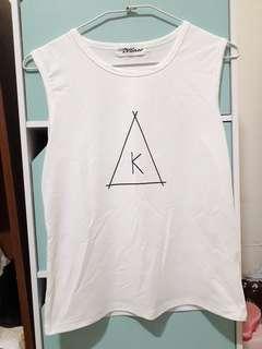 🚚 白色無袖T恤