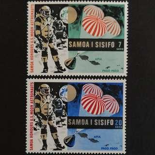 🚚 Samoa 1969. First Manned Moon Landing by Apollo 11 and Control in the Waters of Samoa complete stamp set