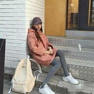 秋冬內舖毛寬鬆帽素色帽t男友風大學t長袖連帽t