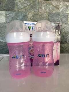 Avent Natural 9oz Pink Bottle Twin Pack