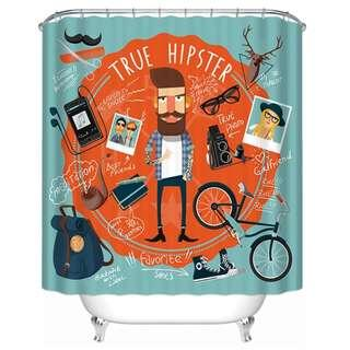 Hipster Shower Curtain | Retro Chic | Modern Contemporary | Boho