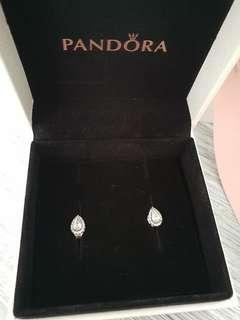 AUTHENTIC PANDORA TEAR DROP STUD EARRINGS WITH POUCH AND BOX