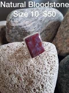 925 Sterling Silver Natural Bloodstone Ring!