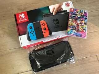 [全新未拆] 任天堂 Nintendo Switch連Mario Kart Deluxe 8 + 原廠主機保護套