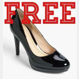 Free black patent pumps heel court shoes  #RHD80
