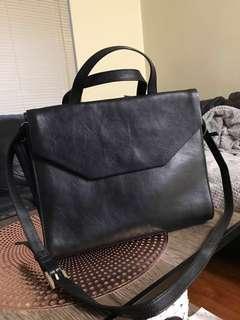 Black leather handbag kin by John Lewis