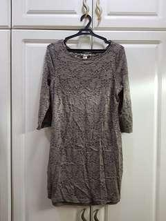 Forever 21 Gray Lace Mini Dress with Sleeves
