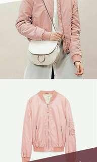 Zara Basic Dusty Pink Bomber Jacket