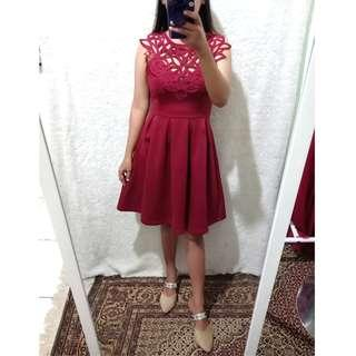 premium maroon yukira dress