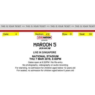 Maroon 5 CAT 4 SECT 416 ROW D SEAT 33&34