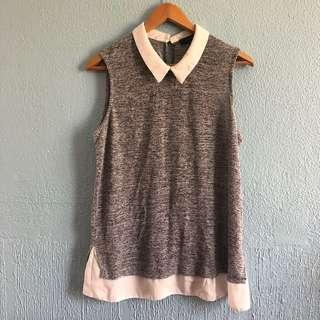 Grey/White collared top