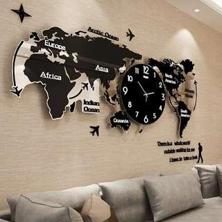 🍀北歐时尚世界地圖鐘錶掛鐘 客廳現代簡約大器时鐘 創意挂錶藝術裝飾 #大小尺寸不同價錢不同 💰:1800-3000          🚙:80