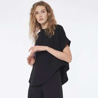 311279b9ac Collate The Label Curved Hem Crepe Blouse - Black