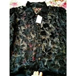 Baju motif bulu korea fashion