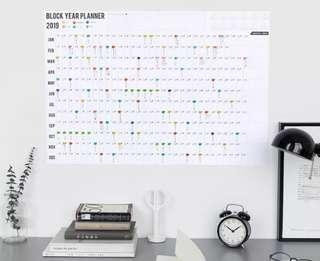 2019 Block Year Planner Daily Plan Paper Wall Calendar with 2 Sheet EVA Colorful Mark Stickers for Office School Home Supplies