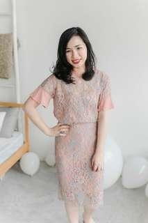 BNWT Ksisters Lace Top & Skirt Set (Orange)
