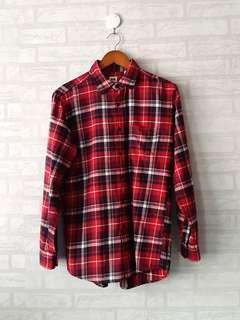 UNIQLO Men's Flannel Shirt Red 2 FREEONG JAWA