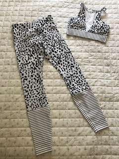 Lorna Jane black & white leopard print leggings & sports bra set xs as new worn once