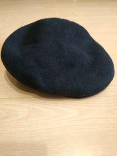 Black wool flat top cap beret faux leather