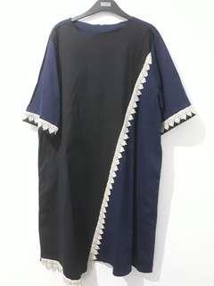 Dress navy hitam bigsize