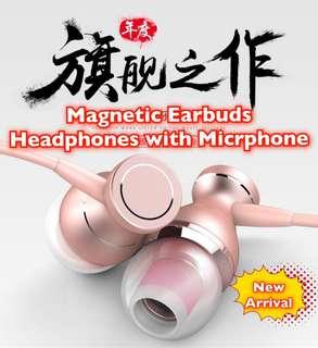 🚚 2019 Magnetic Earbuds Earphones with Microphone Wired