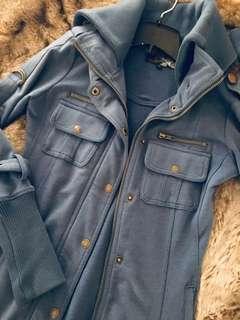 Blue military style jacket