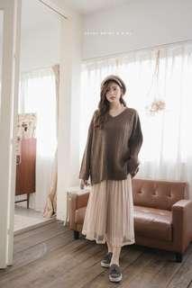 🚚 轉賣Hannah Shop🌹日牌~天鵝絨+雪紡紗浪漫百搭紗裙--粉膚