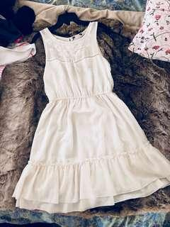 White chiffon dress with embroidery