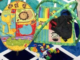 2 baby playmat, baby carrier, baby toys