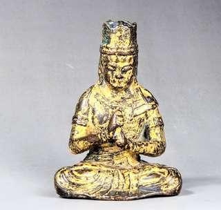銅鎏金智慧觀音坐像