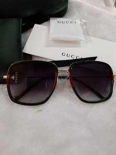 Gucci square shades green/red stripes