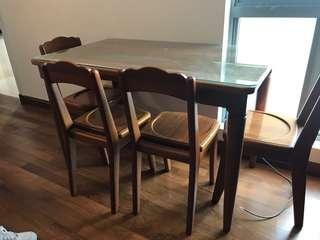 Custom made solid wood dining table with 4 chairs