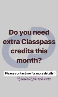 Extra Classpass Credits Available Here