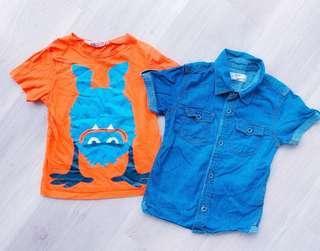 H&M Boys denim Shirt 2pcs/SET