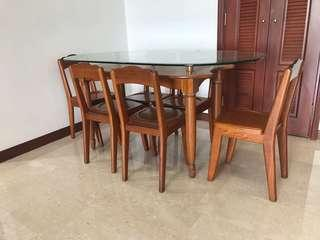 Custom made solid wood dining table with 6 chairs