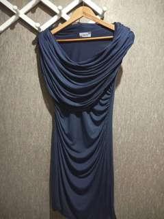 Power Shoulder Rimple Dress