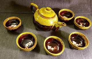 🚚 釉彩魚杯茶組