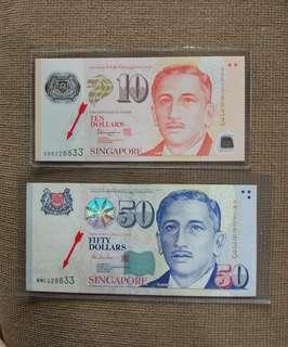 🚚 Sg $50 $10 Identical doubles number set 228833