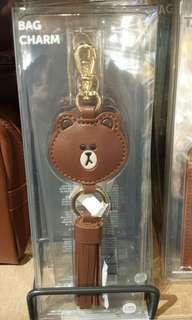 Line friends brown bag charm key ring 掛牌掛袋掛飾匙扣