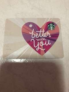 Starbucks Valentines Day Better With You Heart Shape Gift card 2018