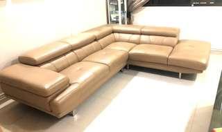 Genuine Lorenzo Full Leather Sofa L shape sofa