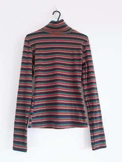 Brand New Colourful Stripe Retro Turtleneck