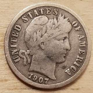 🚚 1907 USA Silver Barber Dime (10 Cents) Coin