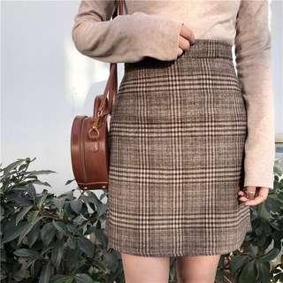 🚚 High Waist Woolen Plaid Skirt
