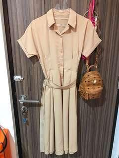New - nude button midi dress - free size